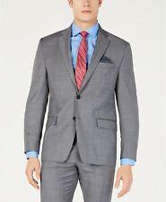 Lauren Ralph Lauren Stretch Gray Blue Windowpane Suit Jacket Mens 44S 44 $450