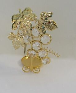 Tea Light Candle Holder- Austrian crystals- Grapes- 24k gold plate-clear