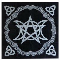 1PC Art Tarot Pagan Altar Cloth Black Flannel Tablecloth Divination TableclotTLP
