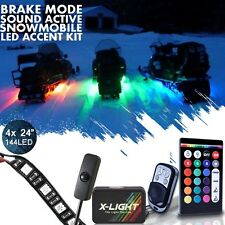 4x RGB Snowmobile LED Color Changing Lighting Kit UnderBody Glow Neon Strip Kit