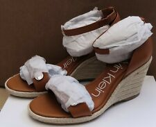 NEW Calvin Klein Brette Grained Wedge Sandals Bown Womens Size 4 RRP £120
