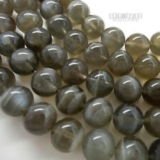 """15.5"""" Natural Gray Genuine Moonstone Round Beads 8mm w/Silver Flash #19305"""