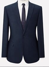KIN BY JOHN LEWIS WOOL BLEND COMO MILL SAX TAILORED FIT SUIT JACKET NAVY 38 L