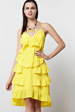 Anthropologie Jemima Dress Cocktail Party Tiered Neon Yellow By Chris Benz, Sz 4