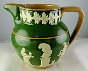 Copeland Late Spode Tri Color Small Pitcher Green High Gloss Neoclassical