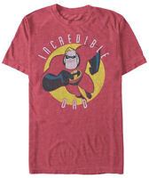 Disney The Incredibles Incredible Dad Red Heather Men's T-Shirt New