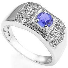 Genuine Tanzanite in 925 Sterling Silver Gents Ring W/0.54ctw Genuine Diamond &