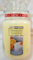 Yankee Candle JUICY CITRUS & SEA SALT Large Jar 22 Oz Yellow Housewarmer New Wax