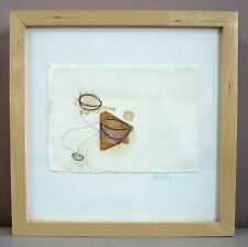 "SARA BUMGARDNER__'Two' - Mixed Media on Handmade Paper__10"" x 10""_ExC_SHIPS FREE"