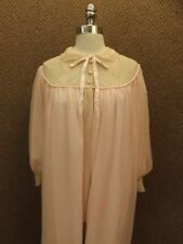 Romantic Flowy Vtg Pink Chiffon Lace Soft Draping Wide Sweep Long Robe Gown Sz L