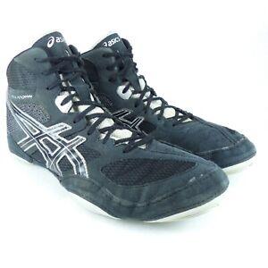 Mens 11.5 Wide Asics Snapdown Wrestling Shoes Model J503Y Color Black & Gray