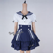 Lolita White Mixed Blue Navy Party Halloween Maid Uniform Costume Cosplay Dress