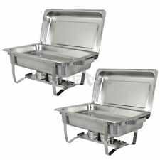 New 2 Pack of 8 Stainless Steel Quart Rectangular Chafing Dish Full Size