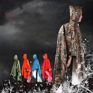 Waterproof Hooded Ripstop Festival Rain Poncho For Army Military Camping Hiking