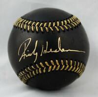 Rickey Henderson Autographed Rawlings OML Black Baseball *Thin Gold- JSA W Auth.