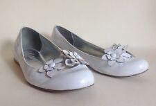 Marks & Spencer Ballerinas White Leather Ballet Flats Pretty Flower Pumps  UK 6