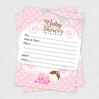 20 Girl Baby Shower Invitations Cards Invites Decorations Pink Gray & Envelopes
