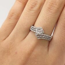 925 Sterling Silver Real Diamond Bypass Ring Size 7 3/4