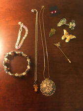 Vintage/Mod Floral/Butterfly Jewelry Lot,  9 Pcs, Brooches, Necklaces, + More!