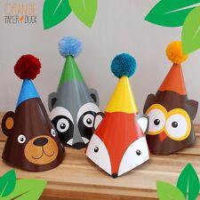 4 X WOODLAND ANIMAL Children's Birthday Party Wool Pom Hat Raccoon Owl Fox Bear