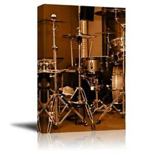 "Drum Kit Drum Set with Gilded Color Vintage Retro Style - CVS - 24"" x 16"""