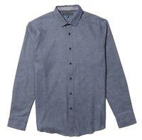 Vince Camuto Mens Long Sleeve Shirt * Blue Gray Jacquard Striped Large NWT