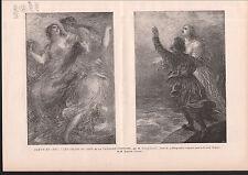 FILLES DU RHIN VAISSEAU FANTOME PAR FANTIN LATOUR 1886 GRAVURE ANTIQUE PRINT
