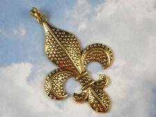 """1 Gold Fleur de Lis Pendant Raised Dot Pattern Large 3"""" Long - French Chic #P909"""