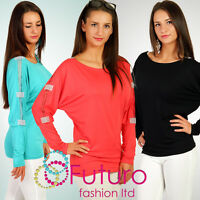 Stunning Tunic with Diamond Elements Stretch Batwing Style Top Size 8 -12 6039