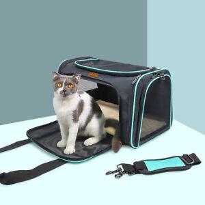 Pet Travel Carrier Bag Cats Dog Carrier Transparent Mesh Breathable Airline Cage
