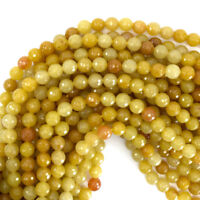 "Natural Faceted Yellow Jade Round Beads 15"" Strand 4mm 6mm 8mm 10mm 12mm"