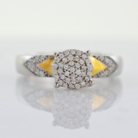 14k White Gold Over Cluster Round Cut Diamond 925 Silver Bridal Wedding Ring