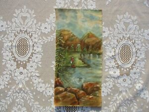 Antique Primitive Folk Art Sierra Mountains Nevada Landscape of Man Fishing