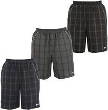 Slazenger Controllare Bermuda Pantaloncini a Quadri Bagno Tgl S NERO Grigio Neu
