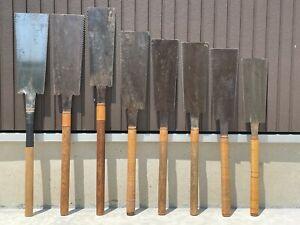 ANTIQUE SIGNED JAPANESE Carpenter Forged Iron Tool Maebiki Nokogiri Saw  8set