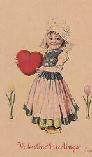 Vintage Postcard Valentine Dutch Girl with Red Heart