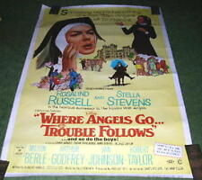 1968 Where Angels Go, Trouble Follows Movie Poster 40 x 60  Rosalin Russell