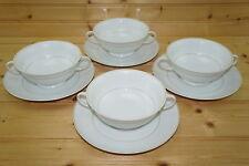 "Rosenthal White Velvet (4) Cream Soup Bowls, 5 1/8"" & (4) Cream Soup Saucers, 7"""