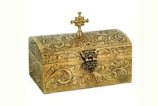 Christian Reliquary Presanctified Box Beautiful Brass Work with Cross 16 x 10 cm