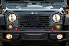 Custom Aftermarket Steel Grille LIBERTY OR DEATH for Jeep Wrangler Grill 2007-16
