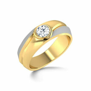 14K Double Tone Gold Bands 0.33 Ct Real Diamond Wedding Ring For Mens Size S T V