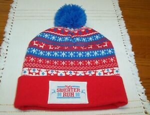 UGLY SWEATER RUN MENS HAT CAP REINDEER RED WHITE BLUE POM ONE SIZE FIT MOST NWOT