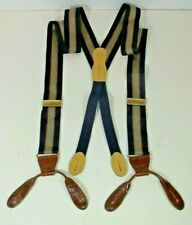 MARTIN DINGMAN Braces Suspenders Blue & Gold Leather Fittings Beautiful Cond 14