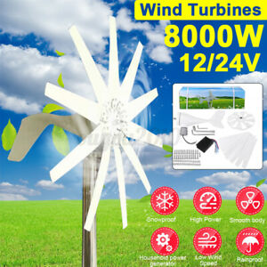 8000W 12/24V 10 Blades Wind Turbine w/Battery Controller For Battery Charging
