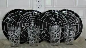 Set of 4 Halloween Smiling Spider Melamine Plates & Tumblers, Pottery Barn Kids