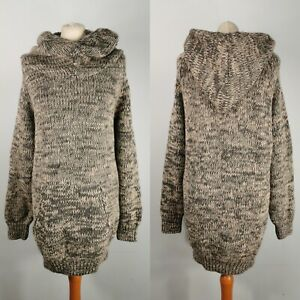 Toast Size L Grey Beige Chunky Knit Hooded Jumper With Pouch Pocket Wool Alpaca