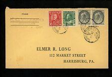 Postal History Canada Scott #74(2)+104+165 cover 1947 Wheatley ON Harrisburg PA
