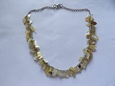 TINKLY MOTHER OF PEARL CHARM DROP NECKLACE ON SILVER TONE CHAIN 391-29