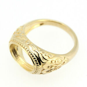 Art Deco 14K White or Yellow Gold Men's Ring Semi Mount Setting  Oval 9x13mm