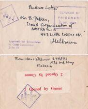 Australia1938/45 Internee Camo in Victoria at Tatura Censored and PoW one